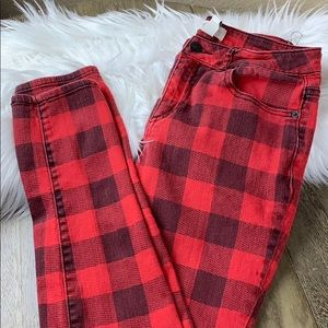 Forever 21 Plaid Skinny Jeans